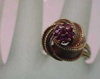 Antique Art Deco  Genuine  Ruby's 14K Yellow Gold  Ring, Heavy 8.9gr, Circa 1950's