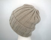 100% Cashmere Hand Knit Hat, Loose Slouch Beanie, Ribbed, Natural Light Brown, Gift for Him Her