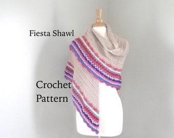 Fiesta Shawl Easy Crochet Pattern, Shawl Pattern, Stripe Border, Crochet Wrap Pattern, Worsted Weight Yarn, Beginner