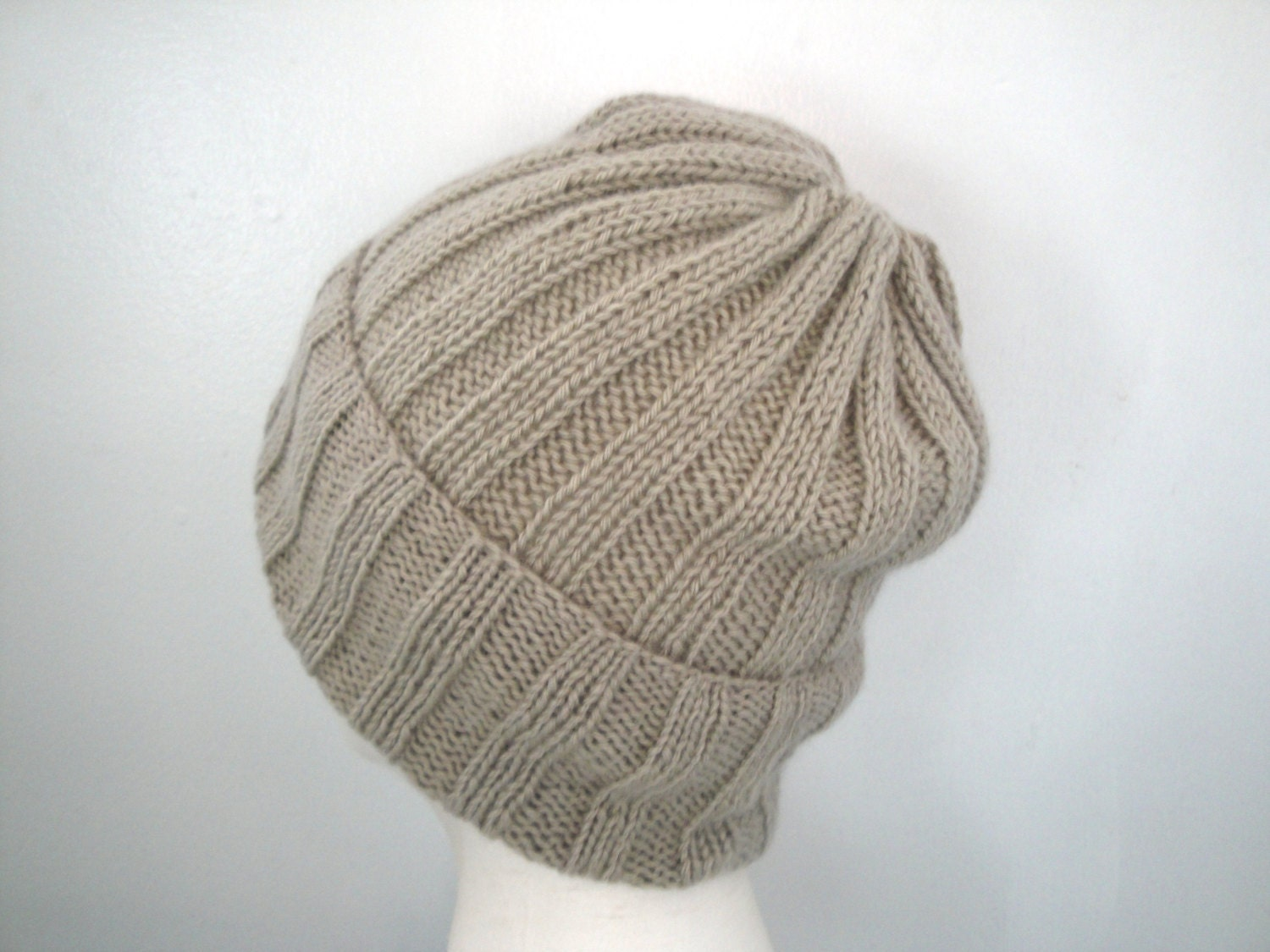 Knitting Pattern For Loose Beanie : 100% Cashmere Hand Knit Hat Loose Slouch Beanie Ribbed