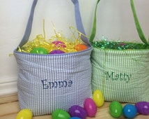 Personalized Easter Basket, Toy Basket, Fabric Reusable Easter Basket, Monogrammed Easter Basket, Seersucker Easter basket