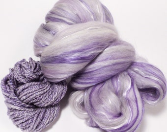 Quartz -( 2 oz.)  Custom blended top - Superfine Merino/ Mulberry Silk/ Bamboo/ Violet Angelina ( 55/25/15/5)