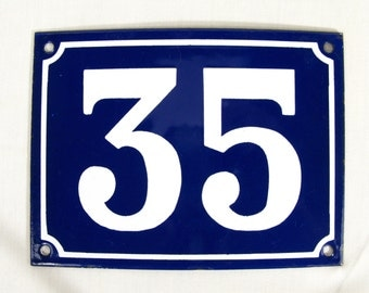 House Number Plate No. 35, Original Enamel French Blue and White, Old French House Number, Enamel House Number