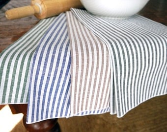 Cotton Linen Stripe Cloth Kitchen Towel, Green, Blue, Black or Latte Brown, Dish Towel