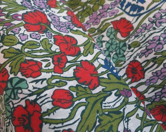 SALE/LIBERTY Of LONDON Tana Lawn Cotton Fabric  'Tiny Poppytot' Multicolor Floral Red/Lavender/Sage