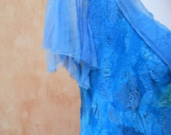 Shades of Blue Mosaic Nuno Felt Tunic