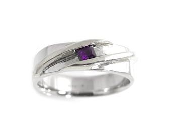 Princess Cut Amethyst Ring Sterling Silver - Amethyst Ring - Square Amethyst Gemstone Ring - Modern Gem Ring - Channel Set Amethyst Ring