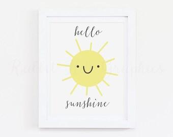 Hello sunshine print, sunshine print, nursery decor, sunshine art, nursery art, yellow sun, happy sun, printable wall art, INSTANT DOWNLOAD