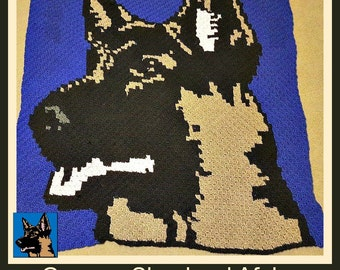 German Shepherd Afghan, C2C Graph, Crochet Pattern