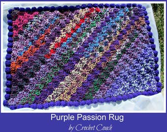 Rug Pattern, Crochet Rug Pattern, Purple Passion Rug Pattern
