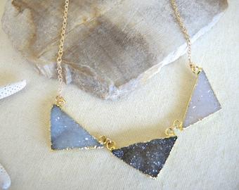 Druzy Necklace, Druzy Stone Necklace, Druzy Triangle Necklace, Geometric Jewelry, 14K Gold Filled Necklace, Druzy Jewelry Gifts For Her