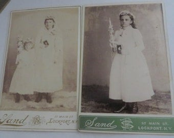 2 Victorian Cabinet Cards First Communion Early 1900s