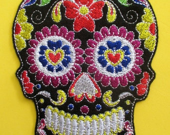 No. 3 Large Embroidered Black Sugar Skull Applique Patch, Iron On,  Sew On, Biker Patch, Tattoo, Day of the Dead, Dai de los Muertos, Mexico