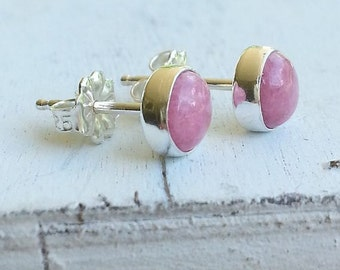 6mm Rhodochrosite Stud Post Earrings Fine Sterling Silver Shiny - Little Bits of Color