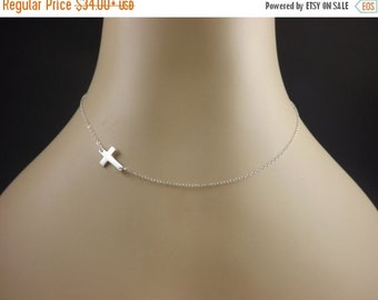 Sterling Silver Sideways Cross Necklace, Horizontal Celebrity Inspired Necklace