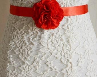 Red Bridal Sash Belt, Wedding Flower Belt, Dress, Chiffon, Flower Girl, Bridesmaid, Belt and Sashes, Tieback headband