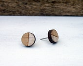 White and Tan Round Studs // Bamboo Earrings // Geometric // Hypoallergenic  // Wood Jewelry //