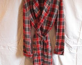 Vintage Mens Plaid Robe Light Weight Summer Robe