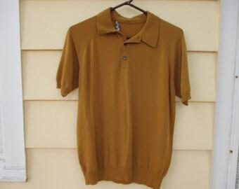 Vintage Mens Knit Shirt 1960 70s Burnt Mustard Large