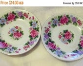 """20% Heart Sale 2 Vintage Small 4"""" Red Rose Blue Floral Plates-Made In China"""