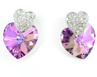 Heart Shaped Swarovski Crystal Stud Earrings