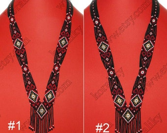 Traditional Ukrainian Folk Handmade Glass Beads Beaded NECKLACE Long Gerdan.