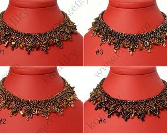 Modern Ukrainian Folk Handmade Beaded Necklace Gerdan With Natural Tiger's Eye Stones.