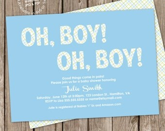Twin Boys Baby Shower Invitation Digital Printable or Printed, free back design, ANY color ANY wording,
