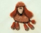 Needle Felted Brooch Dog - Magnet - Poodle - Orange - Brown - Dog - Wool Animal - Dog Pin