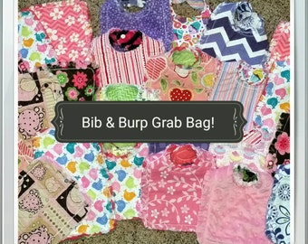 4 Baby Girl Bibs and 2 Burp Cloths Gift Set Grab Bag Sale - Only 4 Sets - Ready to Ship