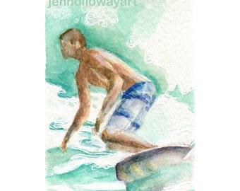Watercolor Surfer, Surfer Print, Surfer Art, Waverider Print, Surf Art