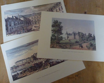 3 Large Chateau Art Prints French Castles Ideal for Framing