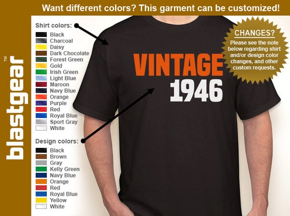 VINTAGE 1946 (or any year) 70th Birthday T-shirt — Any color/Any size - Adult S, M, L, XL, 2XL, 3XL, 4XL, 5XL