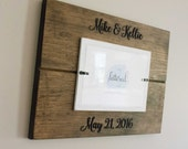 Wedding picture frame, Personalized Wedding date frame with names, Mr & Mrs frame, distressed, husband and wife