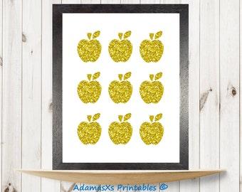 Apples printable, Rosh Hashanah print, Gold Shanah Tovah printable, Fruit print art, glitter gold poster, food kitchen decor, Holiday gifts