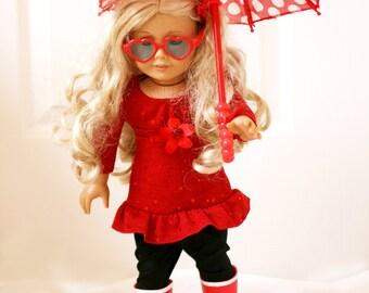 Doll Umbrella, Doll Size Red Umbrella and Boots Set, 18 Inch Doll Umbrella, Doll Boots, Doll Glasses