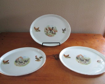 3 Oval Rooster and Chickens Plates, Made in Bavaria