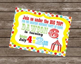 BIG TOP CIRCUS Happy Birthday Party or Baby Shower Invitations Set of 12 {1 Dozen}