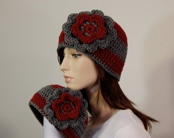 Matching Mom and Baby Girl Hats, Red and Gray Flower Hat, Photo Prop, Mama and Me, Baby Shower Gift, Christmas Hats, MarlowsGiftCottage