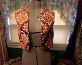Vintage Orange Floral Upholstery Vest