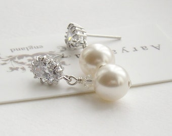 Classic pearl and CZ drop earrings, pearl earrings, bridal jewelry, bridal jewellery, bridal earrings, wedding earrings