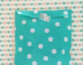 20 polka dot bags in green-aqua color