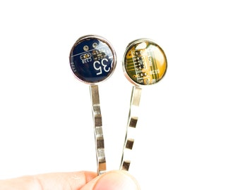 Geeky hair pin, 2pcs - recycled circuit board bobby pin for techie girl