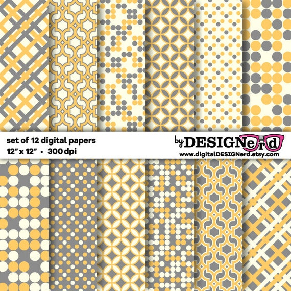 """Digital Scrapbook Paper - Gray, Yellow & Cream Collection (12""""x12"""") Printable Background - Spring - Geometric Pattern - Polka Dots - Easter"""