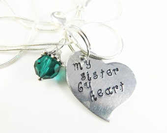 Hand stamped tilted heart sister necklace