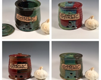 Custom Garlic Jar - Garlic Keeper - Lidded Jar - Kitchen Storage - Made to Order - Choose your color- ceramics - pottery - stoneware
