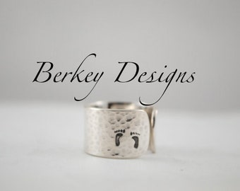 Keepsake Sterling Though She Be But Little, She is Fierce Hand Stamped Secret Message Cuff Ring
