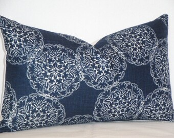 Decorative Pillow Cover - Duralee Blockprint - Danda in Indigo - Throw Pillow - Accent Pillow - Navy