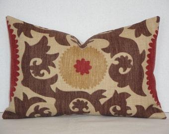 Suzani Decorative Pillow Cover - Fahri In Clove - Red - Rust - Warm Brown - Tan - Accent Pillow - Lumbar pillow
