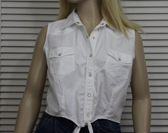 Vintage White Cotton Sleeveless Blouse Wrangler Western Size Medium/Large